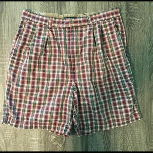 Tommy Hilfiger Plaid Red White& Blue Flat Front 34